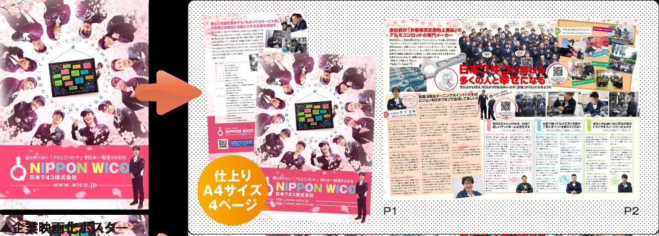 ▲企業映画化ポスター 仕上り A4サイズ 8ページ