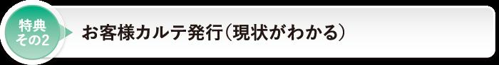 特典 その2お客様カルテ発行(現状がわかる)